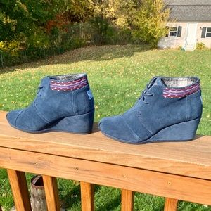 TOMS Suede Wedge Ankle Bootie